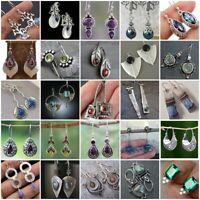 Women 925 Silver Ear Hook Stud Dangle Drop Moonstone Emerald Sapphire Earrings