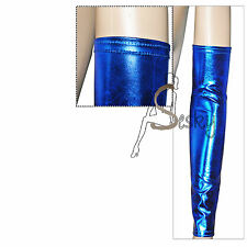 Ladies Women Wet Look Shiny Sleeves Arm Warmers Gloves Fingerless-FANCY DRESS