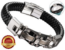 Surf Faux Leather Bracelet Men Wristband Braided Stainless Steel Clasp Cuff Grey