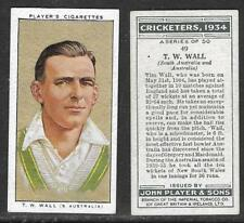PLAYER'S 1934 CRICKETERS T.W.WALL Card No 49 of 50 CRICKET CIGARETTE CARD