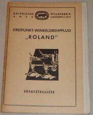 """Teilekatalog Bayerische Pflugfabrik Dreipunkt-Winkeldrehpflug """"Roland"""" - 05/1960"""
