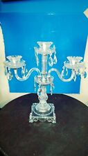"GORGEOUS CRYSTAL CANDELABRA 3 LIGHT w/PRISMS CENTER PIECE 17"" TALL CANDLE HOLDER"