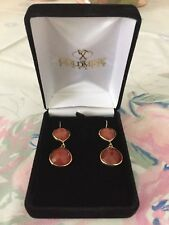 Exquisite Carnelian Gold Plated Drop Earrings