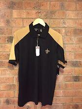 New Orleans Saints Antigua Black Gold Polo Men's Large