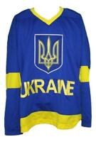 Custom Name # Ukraine National Retro Hockey Jersey New Blue Any Size