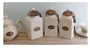 Retro Tea Coffee & Sugar Kitchen Storage Canisters Jar Spoons Set Air Tight Lid