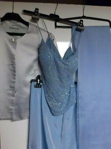 Vestito da donna lungo abito da cerimonia elegante, celeste in quattro pezzi