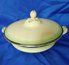 Vintage large tureen serving bowl + lid Johnson Bros Victorian Green silver