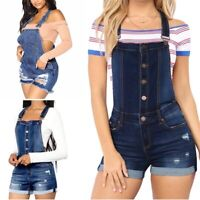 Women Denim Overall Jeans Shorts High Waist Solid Summer Casual Rompers Pants