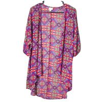 LuLaRoe Womens Size Small Red Kimono Cardigan Duster Geometric Print Sheer