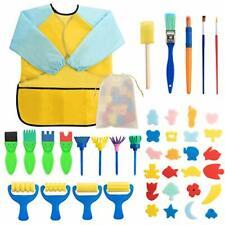 Surplex 42 pcs Sponge Paint Brushes Kits Kids Painting Set for Kids Early DIY
