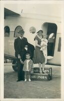 Photograph 1930's French Airline Air Union Family Boarding plane Early Air Trave