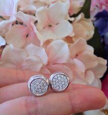 0.50Ct Round Cut Diamond Push Back Cluster Stud Earrings 14K White Gold Finish