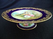 Sevres style painted porcelain tazza compote lovers w cat cobalt raised gold