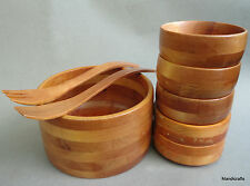 Baribo-Maid Serving Salad Set 8 pc Maple Wood c1970s Baribocraft Canada As Is