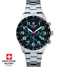 Swiss Alpine Military Grovana 7047.9135 Chronograph blau silber Herren Uhr NEU