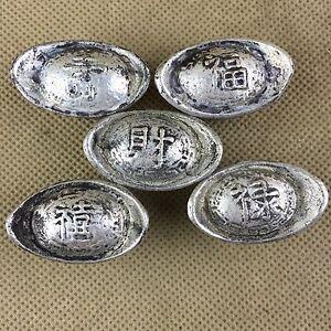 """5piece China antique silver ingots, """"FU,LU, XI, SHOU ,CAI"""" silver taels, ingots"""