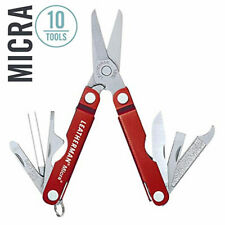 ~NEW~ Leatherman Micra Keychain Multi-Tool, Stainless w/ Red Anodized Body