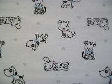 Baby Puppies - Snuggle Flannel Fabric BTY - Dogs Pink and Blue Bows on White