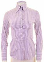 BENETTON Womens Shirt Size 6 XS Purple Striped Cotton  DW06