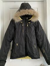 Baby Phat Down Filled Puffer Coat Jacket Hood Genuine Coyote Fur Trim Large