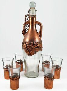 Set for Vodka Cognac Decanter + 6 Glasses Handmade Copper Deer Hunt New