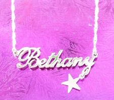 Personalized Name Necklace STERLING SILVER Name & Dangling Star | Name Jewelry .
