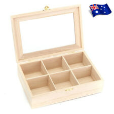 6 Compartments Wooden Tea Box Glass Lid Tea Coffee Bag Storage Box Kitchen Home