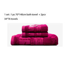 Purple Jacquard Style Bamboo Fiber Bath Towel Set  (1PC 70 x140 CM +2PCS 34*76)