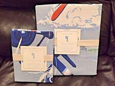 NEW Pottery Barn Kids Vintage Airplanes Twin Duvet, Sham, Deco Pillow, 3pc Set