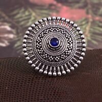 Oxidized Silver Plated Handmade Adjustable Statement Big Ring for women #EAU0311