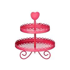 Premier Housewares 27diax33cm Hot Pink Enamel 2 Tier Wedding Birthday Cake Stand