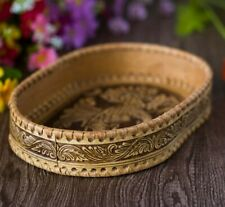 Beautiful Wooden Plate * Birch Bark * Kitchen Carved Plate * hand made in Russia