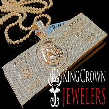 Mens Genuine Diamond Cash $100 Bills Money Pendant Chain 10K Rose Gold Finish