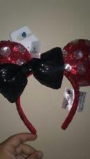 NEW 2017 Disney Parks Minnie Mouse Sequin Polka Dot Black Bow Ears Headband