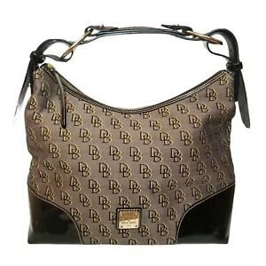 Dooney & Bourke Signature Nikki Logo Leather&Fabric Hobo Shoulder Handbag Purse