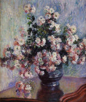 Oil painting Claude Monet - Still life Chrysanthemums flowers in vase on table