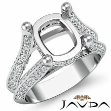 Cushion Shape Semi Mount Diamond Wedding Ring 18k White Gold Split Shank 1.2Ct