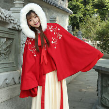 Ladies Red Wool Blend Hooded Cloak Coat Floral Cape with Faux Fur Jacket Casual