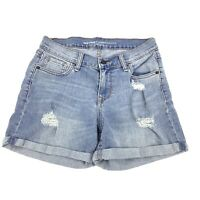 Old Navy Curvy Size 2 Denim Jean Shorts Distressing light Wash 0964