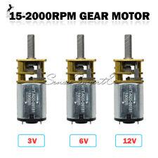GA12-N20 DC 3V/6V/12V Micro Gear Motor Metal Gearbox 15/30/60/100/200/2000RPM