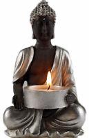 Silver And Dark Brown Thai Buddha 15 cm Tea Light Candle Holder Ornament