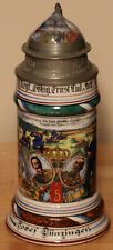 1/2L Old Antique German Regimental Porcelain beer stein - Prism lid + lithophane