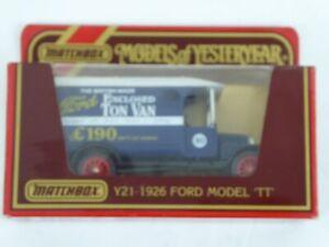 RARE MATCHBOX MODELS OF YESTERYEAR - Y21 1926 FORD MODEL 'TT' - ENCLOSED TON VAN