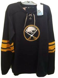 Adidas Mens Buffalo Sabres Platinum Long Sleeve Jersey Sweatshirt SZ Large NHL