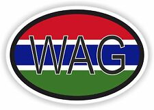 WAG GAMBIA AFRICAN COUNTRY CODE OVAL FLAG STICKER bumper decal car bike tablet