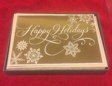 16 Hallmark Boxed Set Christmas Cards Gold Foil Happy Holidays