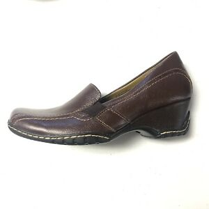 New I Love Comfort Blair Womens Size 7 Brown Leather Slip on Low Wedge Heel Shoe