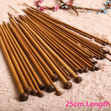 36Pcs 18sizes Single Pointed Carbonized Bamboo Knitting Needles Crochet Set 25CM