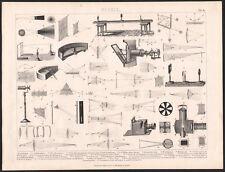 1870 Gravure originale Science Physique lumière réflection instruments